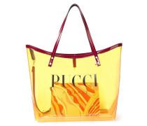 Twist Tote Bag aus Pvc mit Logoprint und Lederbesatz