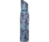 Akita one-shoulder belted printed silk-chiffon gown