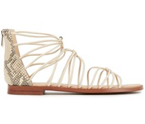 Emi Smooth And Snake-effect Leather Sandals