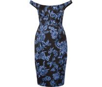 Off-the-shoulder Floral-print Satin Dress Schwarz