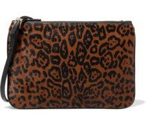 Printed calf hair and leather shoulder bag