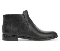 Stitched Leather Boots Schwarz