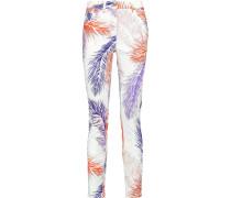 Printed Mid-rise Skinny Jeans Weiß