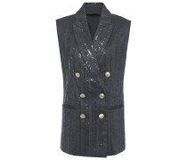 Double-breasted Embellished Herringbone Cotton-blend Vest