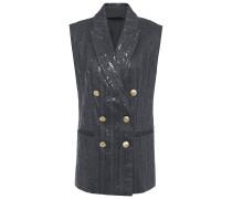 Double-breasted Embellished Herringbone Cotton-blend Vest