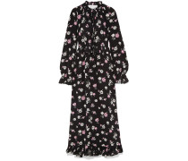 Tie-front Ruffled Floral-print Silk-crepe Maxi Dress