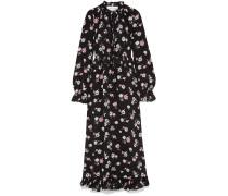 Woman Tie-front Ruffled Floral-print Silk-crepe Maxi Dress Black