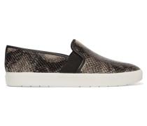Snake-effect Leather Slip-on Sneakers Schwarz