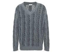 Pullover aus Einer Baumwoll-, Leinen- und Seidenmischung mit Zopfstrickmuster und Pailletten