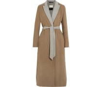 Belted Two-tone Felt Coat Camel