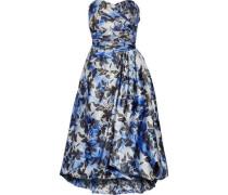 Strapless pleated printed crepe midi dress
