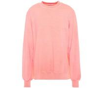 Sweatshirt aus French Terry mit Rüschen und Voile-einsatz
