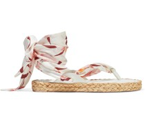 Scarf Tie Leather-trimmed Printed Silk-twill Espadrille Sandals