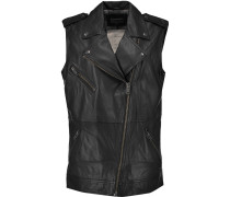 The Moto Infantry Leather Vest Schwarz