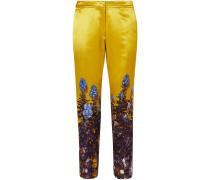 Poumas Floral-print Cotton-blend Satin Tapered Pants