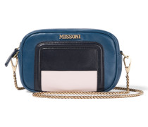 Mini Color-block Leather Shoulder Bag Blau