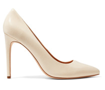 Glossed Lizard-effect Leather Pumps Creme