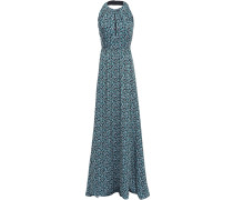 Woman Pleated Printed Twill Halterneck Gown Turquoise