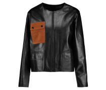 Virgil Suede-paneled Leather Jacket Schwarz