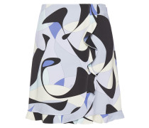 Wrap-effect Ruffle-trimmed Printed Stretch-crepe Mini Skirt