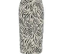 Distressed Zebra-print Denim Skirt