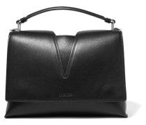 View Hangle Cutout Leather Tote Schwarz