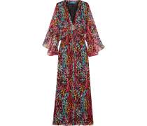 Akita Embellished Printed Silk-chiffon Maxi Dress Mehrfarbig