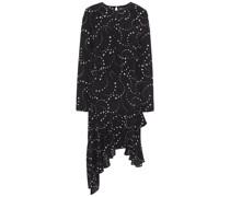 Asymmetrisches, Bedrucktes Kleid aus Crêpe