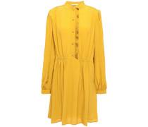 Pleated Gathered Crepe Mini Dress