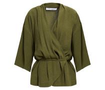 Woolia Wrap-effect Linen And Silk-blend Blouse