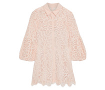 Crepe De Chine-trimmed Corded Lace Blouse