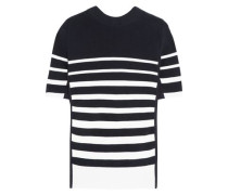 Lace-up twill-trimmed striped cotton top