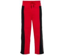 Zweifarbige Track Pants aus Baumwollftee mit Print