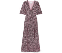 Woman Tie-front Leopard-print Silk-crepe Maxi Dress Baby Pink
