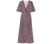 Tie-front Leopard-print Silk-crepe Maxi Dress