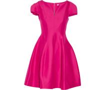Woman Flared Cotton And Silk-blend Dress Fuchsia