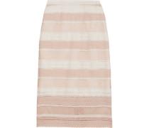 Striped Guipure Lace Midi Skirt Puder