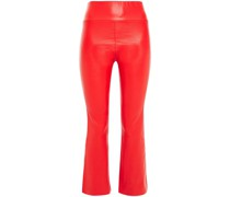 Cropped Leather Flared Pants