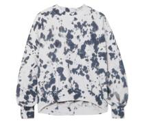 Sweatshirt aus Baumwollfrottee mit Batikmuster und Cut-outs