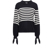 Woman Knotted Striped Wool Sweater Navy