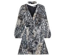 Rita Wrap-effect Snake-print Burnout Crepe De Chine Mini Dress