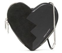 Heart Leather And Suede Shoulder Bag