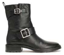 Cannon Buckle-embellished Leather Ankle Boots