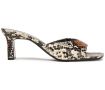 Hammer Snake-effect Leather Mules