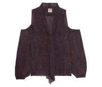 Vida Cold-shoulder Printed Silk Top Lila