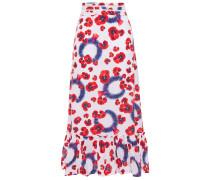 Gathered Floral-print Cotton-poplin Midi Skirt