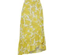 Silva Asymmetric Ruffled Floral-print Crepe Skirt