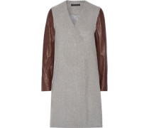 Quennel leather-paneled felted wool-blend coat