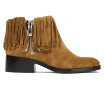 Alexa Fringed Suede Ankle Boots Braun