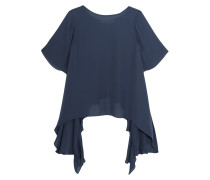 Papillon Ruffled Silk-chiffon Top Rauchblau